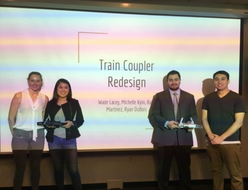 Wabtec Corp. purchases IP rights to a novel rail-coupler design created as a class project by students in Prof. Panat's Design class!!